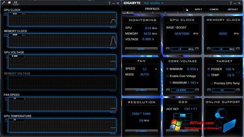 Posnetek zaslona GIGABYTE OC Guru Windows 7