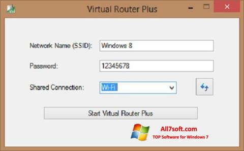 Posnetek zaslona Virtual Router Plus Windows 7