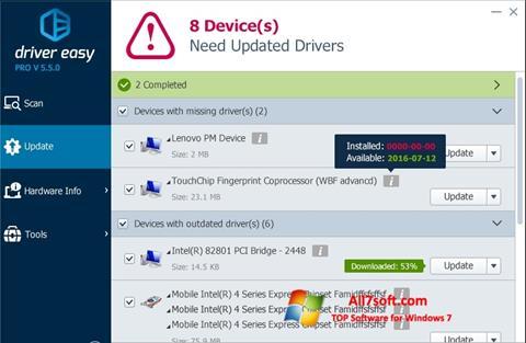 Posnetek zaslona Driver Easy Windows 7