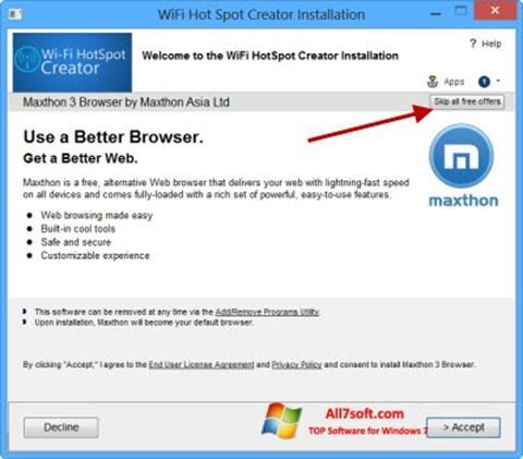 Posnetek zaslona Wi-Fi HotSpot Creator Windows 7