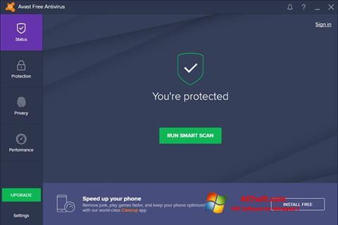 Posnetek zaslona Avast Free Antivirus Windows 7