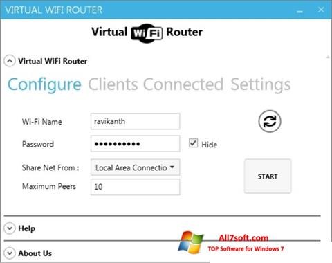 Posnetek zaslona Virtual WiFi Router Windows 7