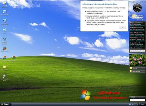 Posnetek zaslona Google Desktop Windows 7
