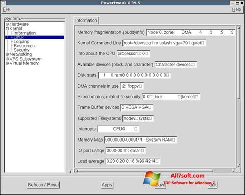 Posnetek zaslona PowerTweak Windows 7