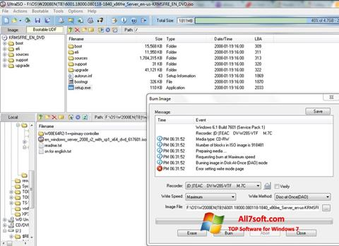 Posnetek zaslona UltraISO Windows 7
