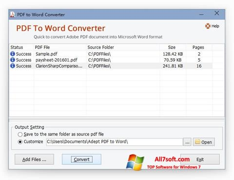 Posnetek zaslona PDF to Word Converter Windows 7