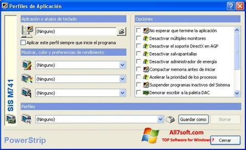Posnetek zaslona PowerStrip Windows 7