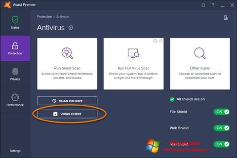 Posnetek zaslona Avast Windows 7