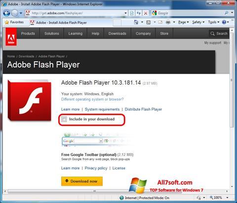 Posnetek zaslona Adobe Flash Player Windows 7