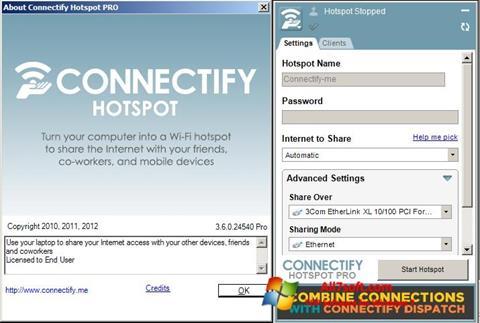 Posnetek zaslona Connectify Windows 7