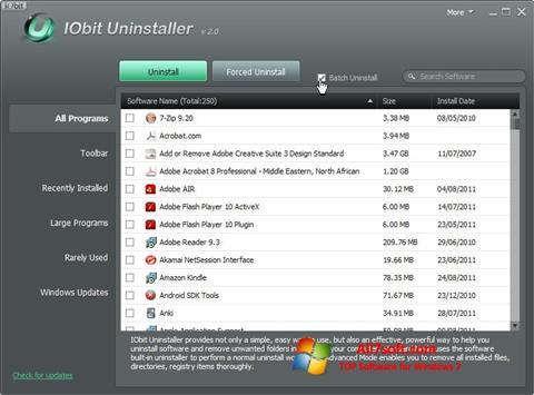 Posnetek zaslona IObit Uninstaller Windows 7