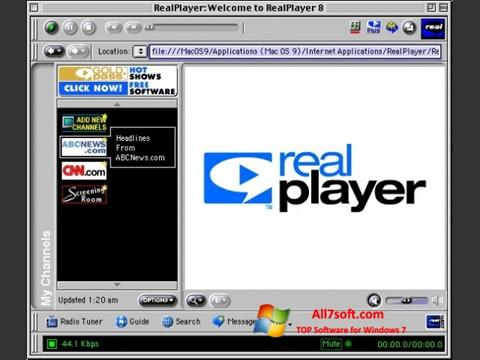 Posnetek zaslona RealPlayer Windows 7