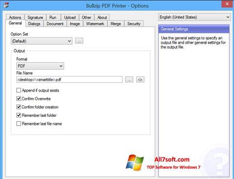 Posnetek zaslona BullZip PDF Printer Windows 7