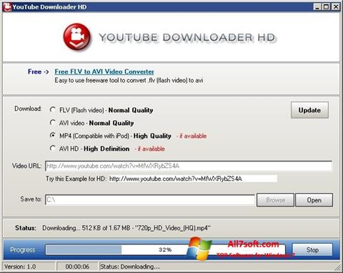Posnetek zaslona Youtube Downloader HD Windows 7