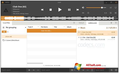 Posnetek zaslona AIMP Windows 7