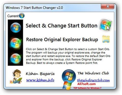 Posnetek zaslona Windows 7 Start Button Changer Windows 7